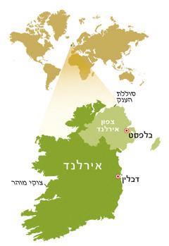 מפת הרפובליקה העצמאית של אירלנד וצפון אירלנד