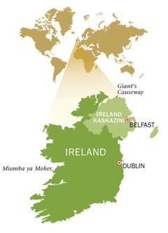 Ramani ya Jamhuri ya Ireland na Ireland Kaskazini