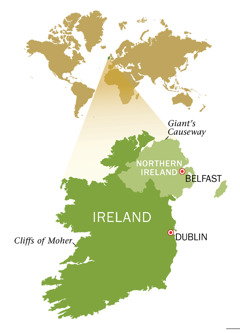 Mapa ng Republic of Ireland at Northern Ireland