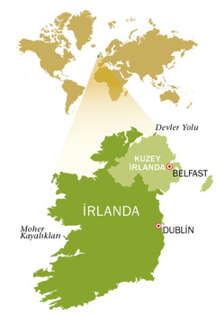 İrlanda Cumhuriyeti ve Kuzey İrlanda haritası