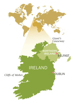 Mmapa wa Republic of Ireland le Northern Ireland