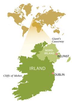 En karta över republiken Irland och Nordirland.