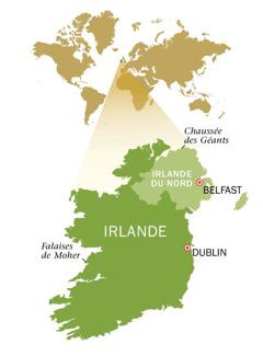 Karte ya Jamhuri ya Irelandi na Irelandi ya Kaskazini