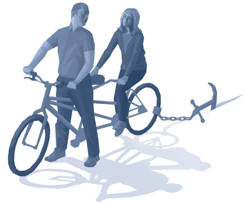 Pareja montada en una bicicleta para dos sin poder avanzar por culpa de un ancla