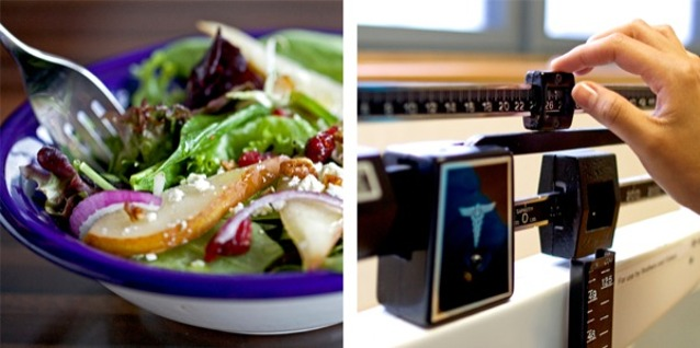 1. A healthy salad; 2. Measuring a person's weight on a scale