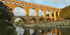 Ruins of an ancient Roman aqueduct