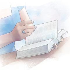 Kona sem er að lesa Biblíuna.
