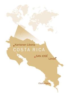Costa Ricas placering på et verdenskort