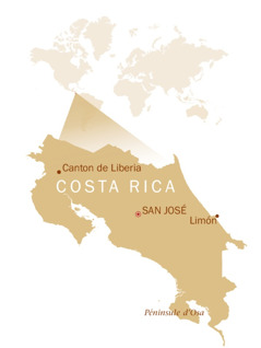 Une carte du monde montrant où se situe le Costa Rica