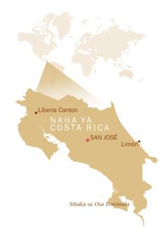 Mapa ya Lifasi ye bonisa ko i fumaneha naha ya Costa Rica