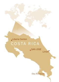 Mapa na nagpapakita ng lokasyon ng Costa Rica