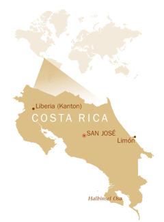 Auf einer Weltkarte ist die Lage von Costa Rica zu sehen