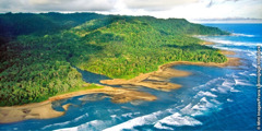 An aerial view along the coast of Costa Rica