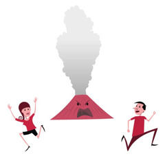 Two people running away from an erupting volcano
