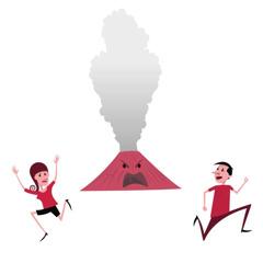 Двајца луѓе бегаат од вулкан кој еруптирал