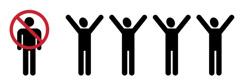 Een persoon die doorgestreept is en vier anderen met hun armen in de lucht