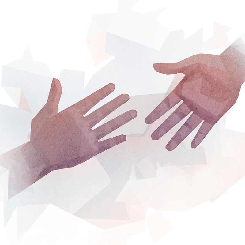 Dos manos a punto de unirse