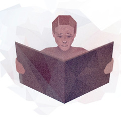 A person with a concerned face reading a large book