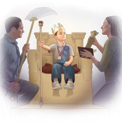 Foreldre viser sønnen sin, som sitter på en trone, overdreven ære