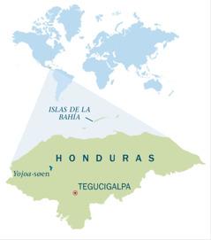 Et kort over Honduras