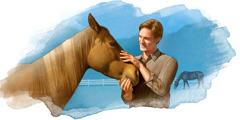 Een man die naast een paard staat