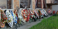 Memorial wreaths outside the Beslan school gymnasium