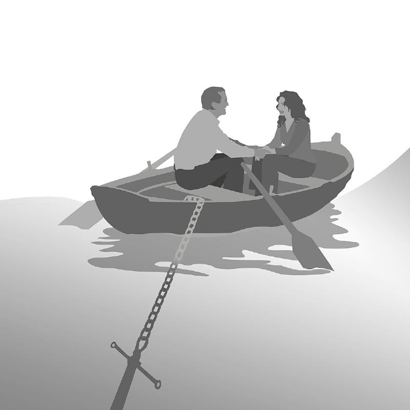 Um casal sentado num barco que está ancorado