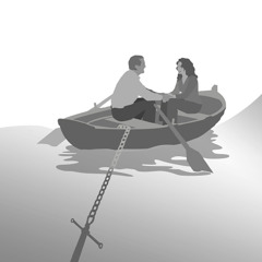 A married couple sitting in a boat anchored to shore