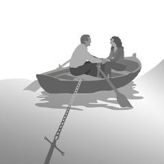 Poročen par sedi v čolnu, ki je zasidran ob obali.
