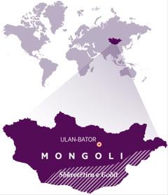 Harta e botës ku tregohet vendndodhja e Mongolisë
