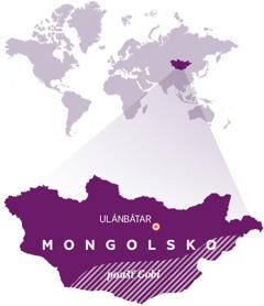 Mapa světa s vyznačením Mongolska