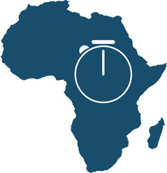A stopwatch superimposed over Africa