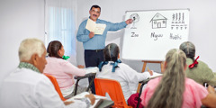 One of Jehovah's Witnesses conducts a literacy class