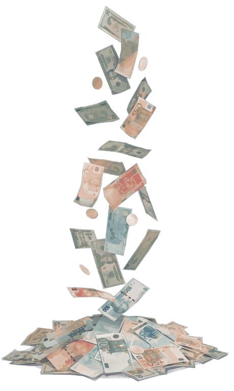 Billetes y monedas cayendo sobre un montón de dinero