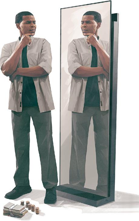 Un hombre que tiene frente a sí un montón de dinero se examina en un espejo