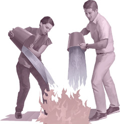 A husband and wife pour buckets of water on flames of fire