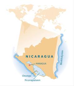 Et kort der viser Nicaragua