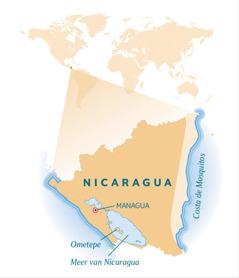 Een kaart van Nicaragua