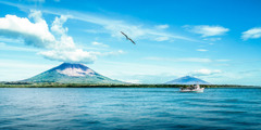 Ometepe, an island formed by two volcanoes rising from Lake Nicaragua