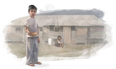A little boy, in front of a dilapidated house, holds an empty bowl