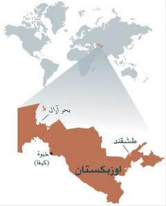 خريطة اوزبكستان