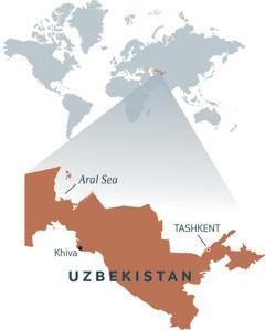 A map of Uzbekistan