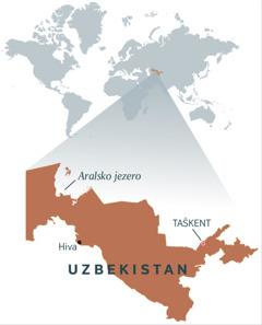 Zemljevid Uzbekistana
