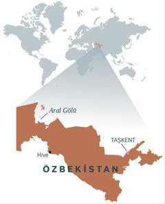 Özbekistan'ı gösteren bir harita