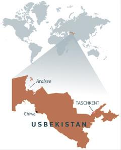 Eine Landkarte von Usbekistan