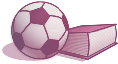 A soccer ball and a book