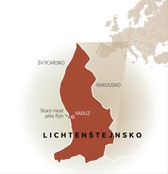Mapa, na které je Lichtenštejnsko sousedící se Švýcarskem a Rakouskem