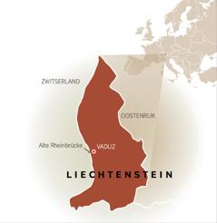 Een kaart waarop de grenzen van Liechtenstein met Zwitserland en Oostenrijk worden aangegeven