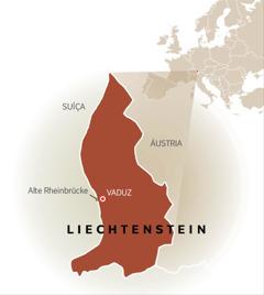 Um mapa de Liechtenstein mostrando as fronteiras com a Suíça e a Áustria