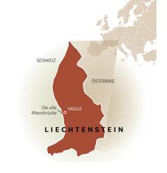 En karta visar Liechtensteins gränser mot Schweiz och Österrike.